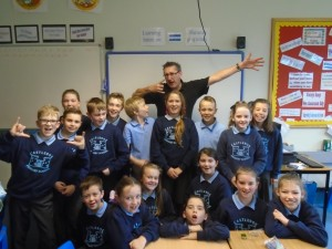 Getting creative writing tips from visiting author Stuart Reid.