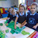 We painted crocodiles on Roald Dahl day when learning about 'The Enormous Crocodile'